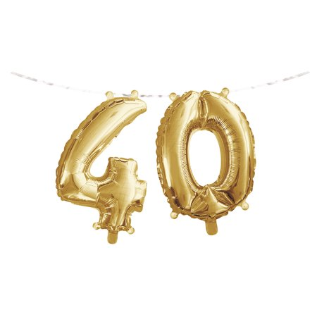 Gold Colored Foil - Club Pack of 24 Gold Colored '4' '0' Party Foil Balloon Banners 9.75