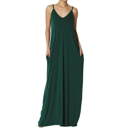 463546faffbb6 TheMogan Women's V-Neck Draped Jersey Casual Beach Cami Long Maxi Dress W  Pocket - Walmart.com