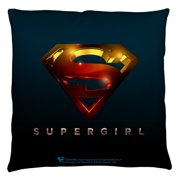 Supergirl Logo Throw Pillow White 18X18