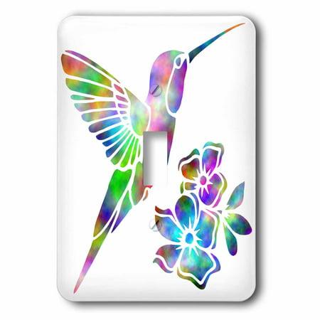 Humminbird Switch - 3dRose Rainbow Tie Dye Hummingbird and Flowers - Single Toggle Switch