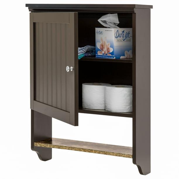 Best Choice Products Bathroom Wall Mounted Hanging Storage Cabinet Home Decor w/ Open Shelf, Versatile Door - Espresso