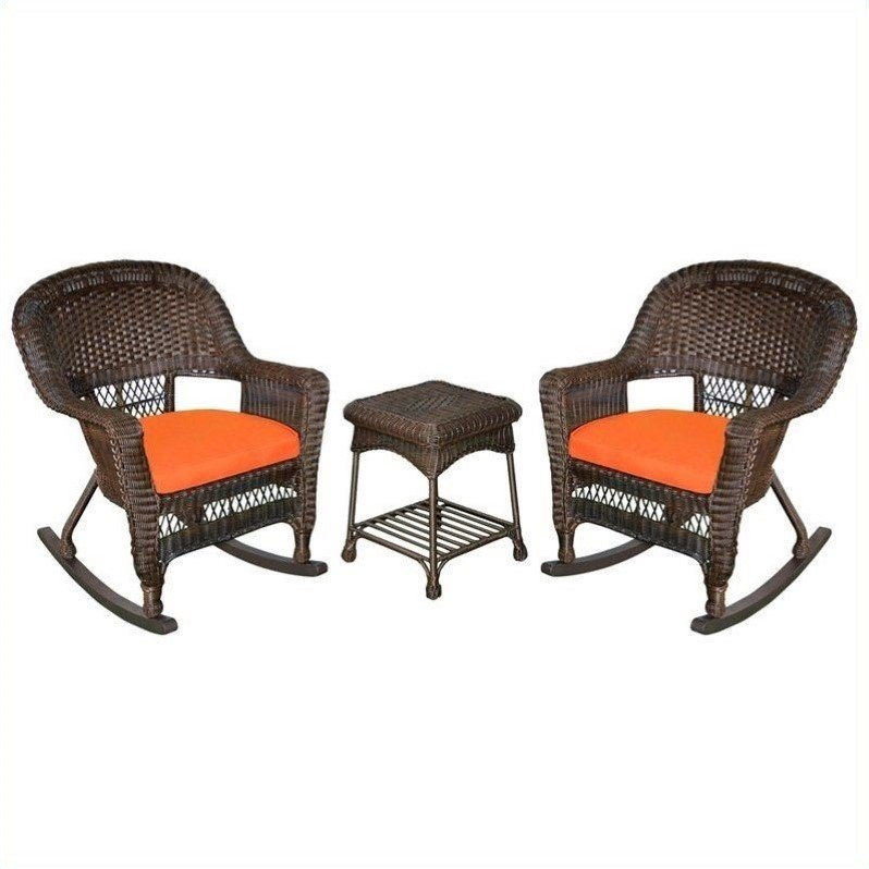 Jeco 3pc Wicker Rocker Chair Set in Espresso with Orange ...