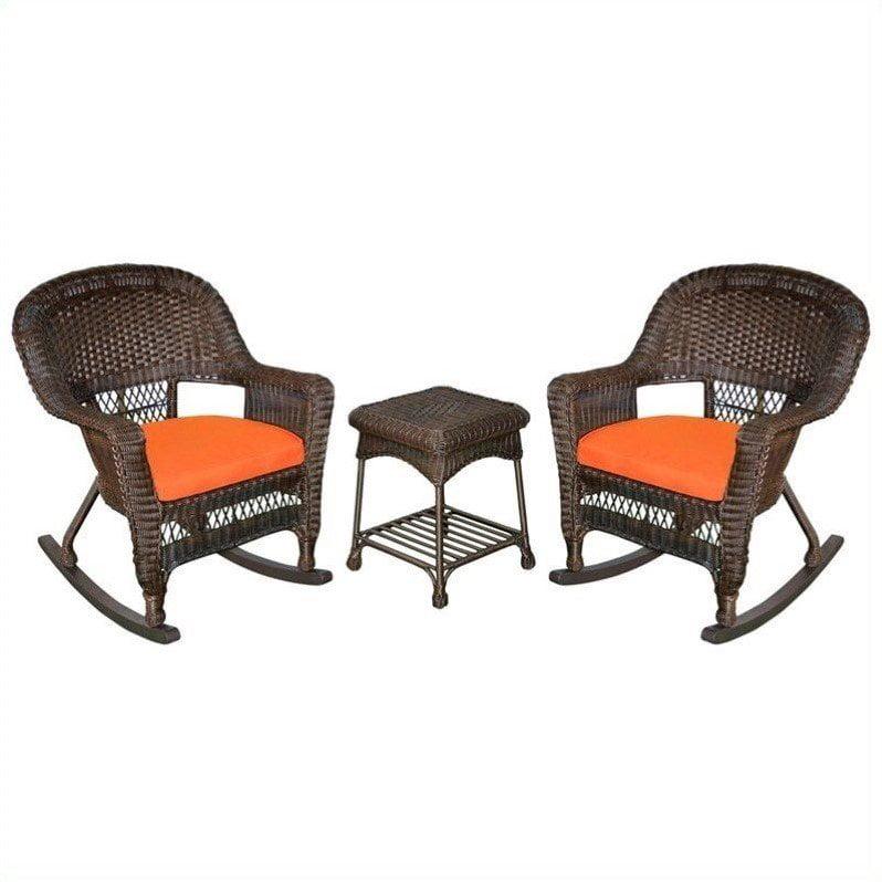 Jeco 3pc Wicker Rocker Chair Set in Espresso with Orange Cushion