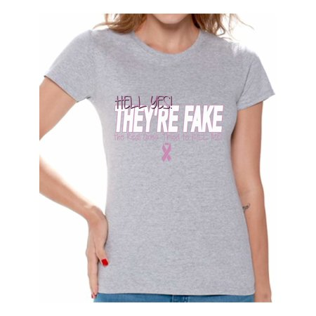 Awkward Styles Women's Hell Yes They're Fake Graphic T-shirt Tops Pink Ribbon Breast Cancer Awareness - Dark Red Face