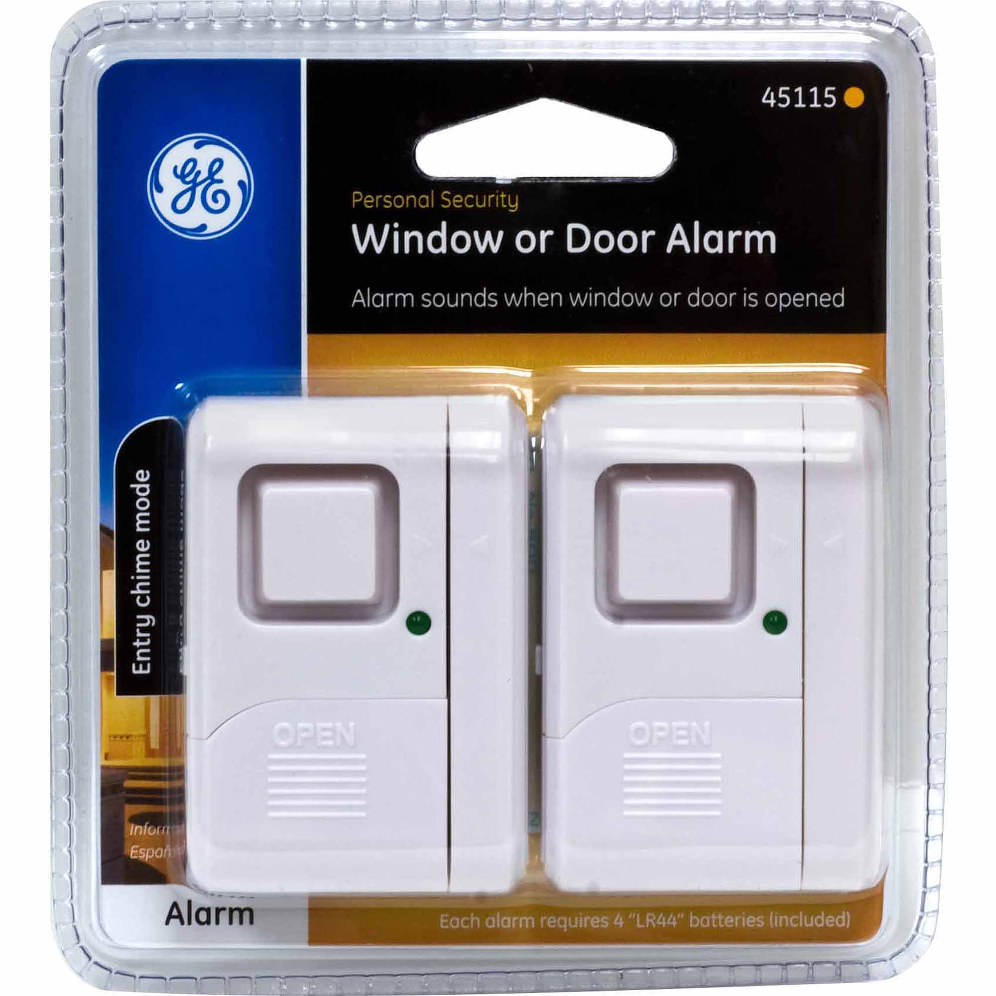GE 45115 Wireless Window Alarms, 2pk