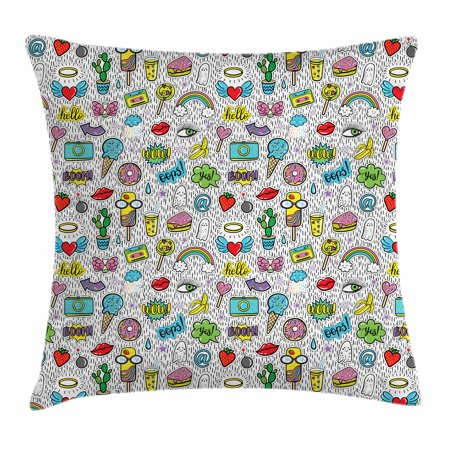 Emoji Throw Pillow Cushion Cover, Pop Art Hand Drawn Cartoon Style Eye Ice Cream Rainbow Donut Lip Heart Banana Ghost, Decorative Square Accent Pillow Case, 16 X 16 Inches, Multicolor, by Ambesonne (Pops Donuts)