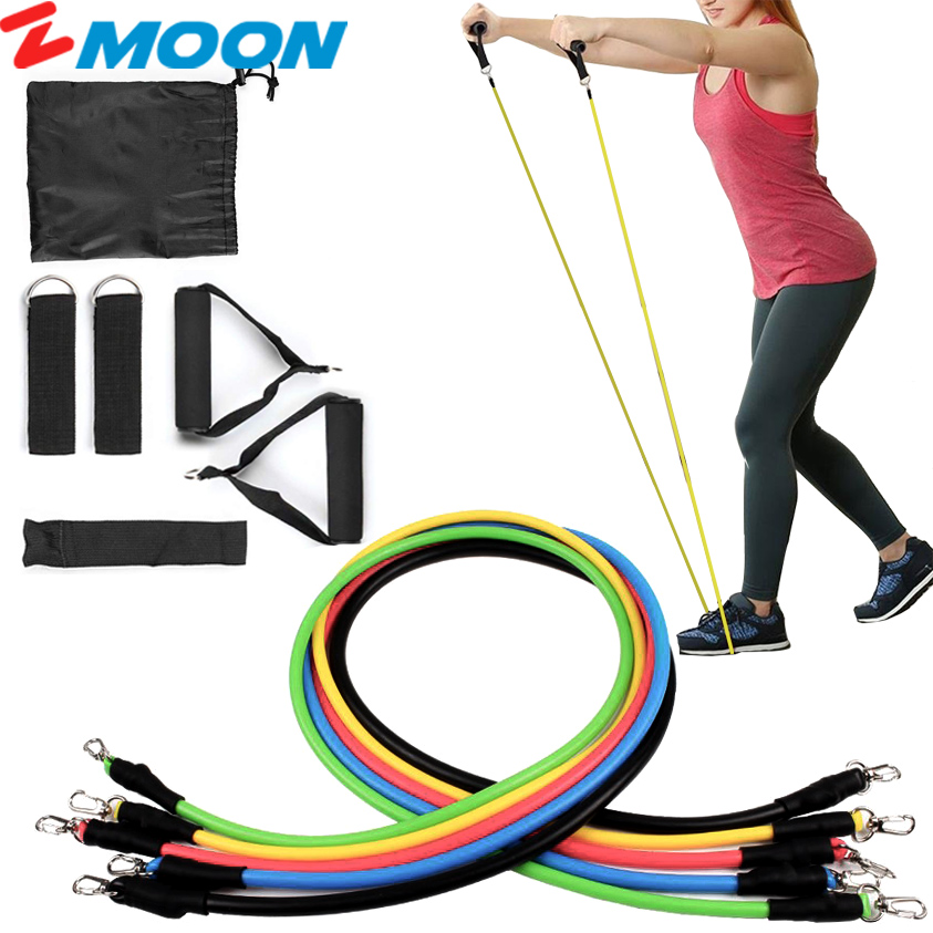 Resistance Bands, Exercise Bands for Training, Physical Therapy, Home Workouts, Workout Bands Set with Door Anchor, Ankle Straps - 11Pcs