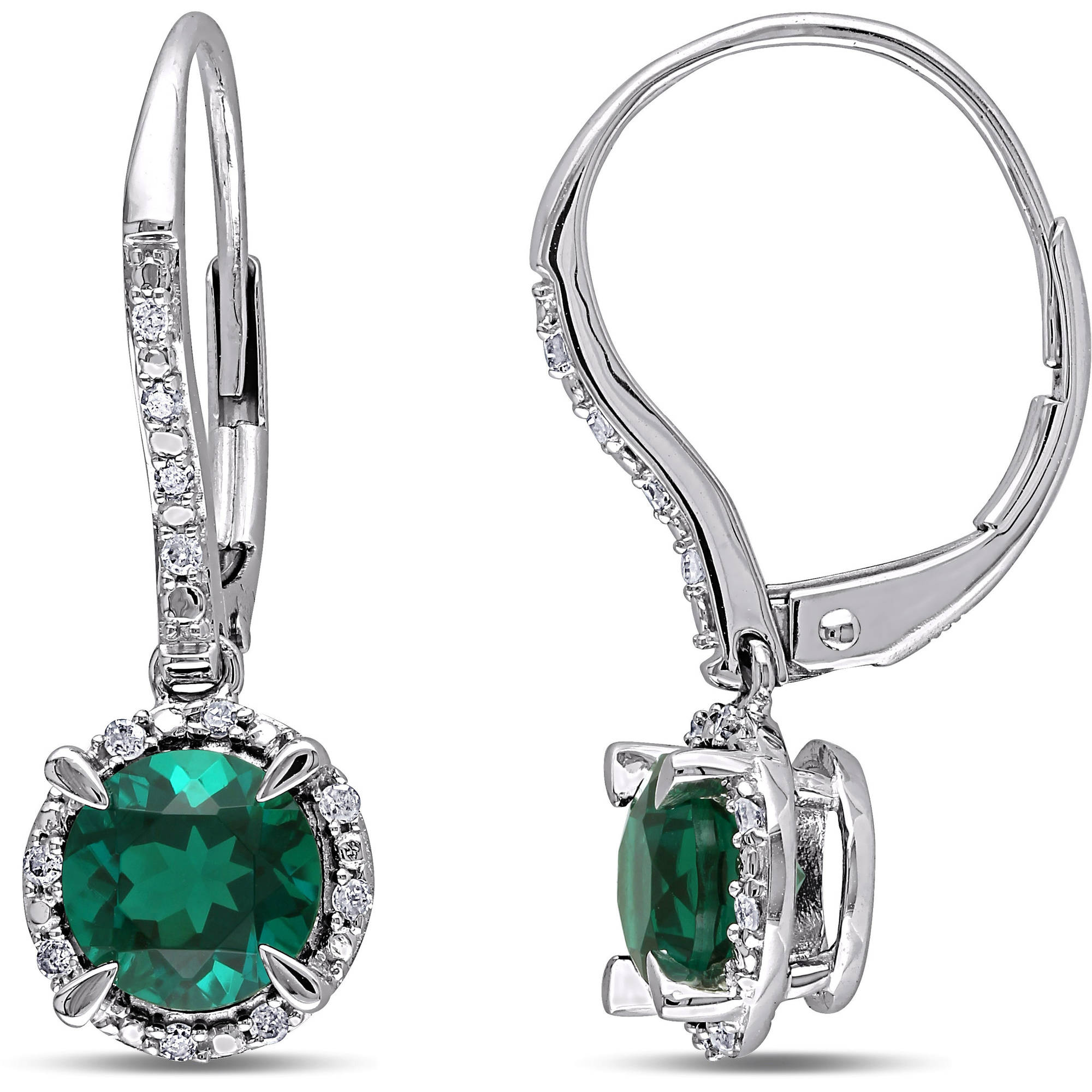 1-3/4 Carat T.G.W. Created Emerald and Diamond Accent 10kt White Gold Leverback Halo Earrings