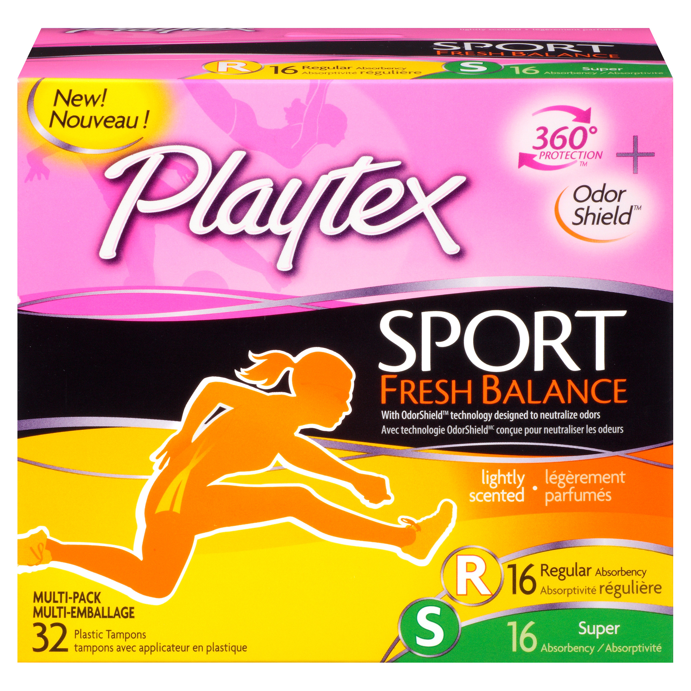 Playtex Sport Tampons Scented Fresh Balance 16 Regular And 16 Super Absorbency - 32 Count