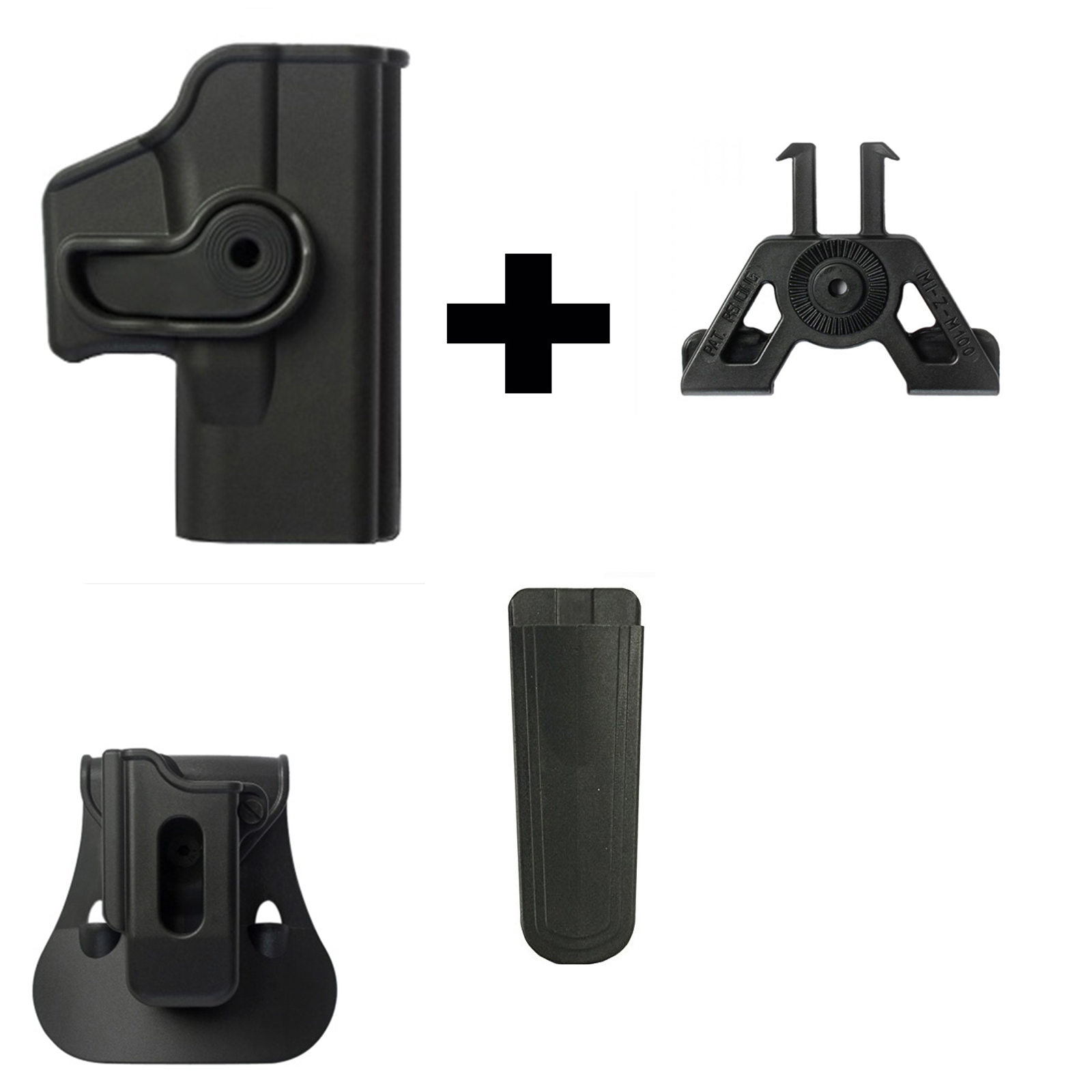 IMI Defense ZSP08 Single Mag Pouch & Paddle + Z1040 360� Rotate Holster Glock 23 26 27 28 33 36 Gen 4, Black + ZM100... by