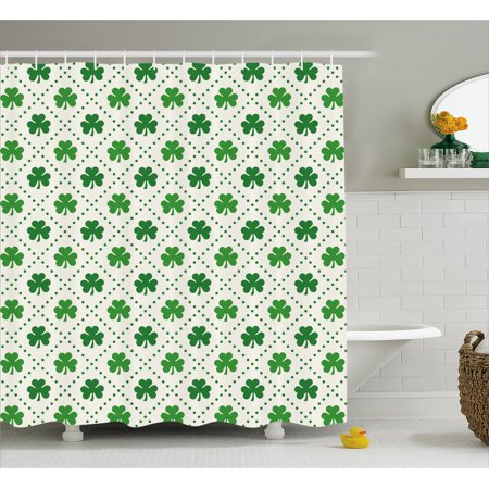 Irish Shower Curtain, Four Leaf Shamrock Clover Flowers with Dotted Dashed Lines National Culture Symbol, Fabric Bathroom Set with Hooks, Green White, by Ambesonne