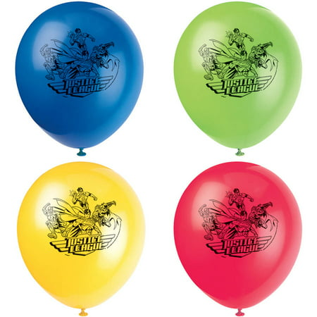 Latex Justice League Balloons, 12 in, 8ct - Justice League Party