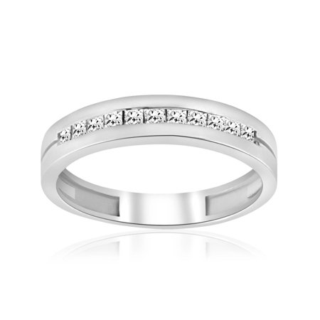 3/8ct Mens Princess Cut Diamond Polished Wedding Ring 14K White (Diamond Princess Cut Mens Ring)