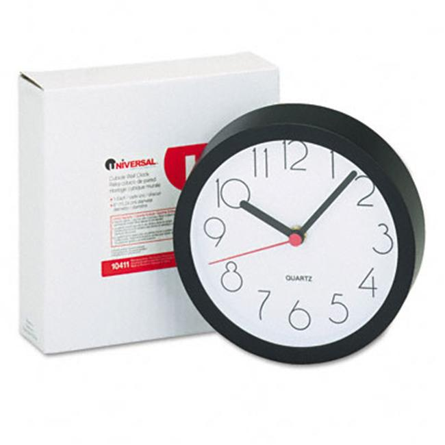 Universal 10411 Cubicle Clock  6in  Black  1 AA Battery