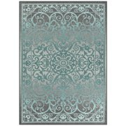 Mainstays India Medallion Textured Print Area Rug and Runner Collection, Gray/Blue, 5' x 7'