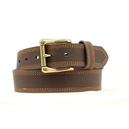 - 34 Inch Triple Stitch Buckle Belt, Brown