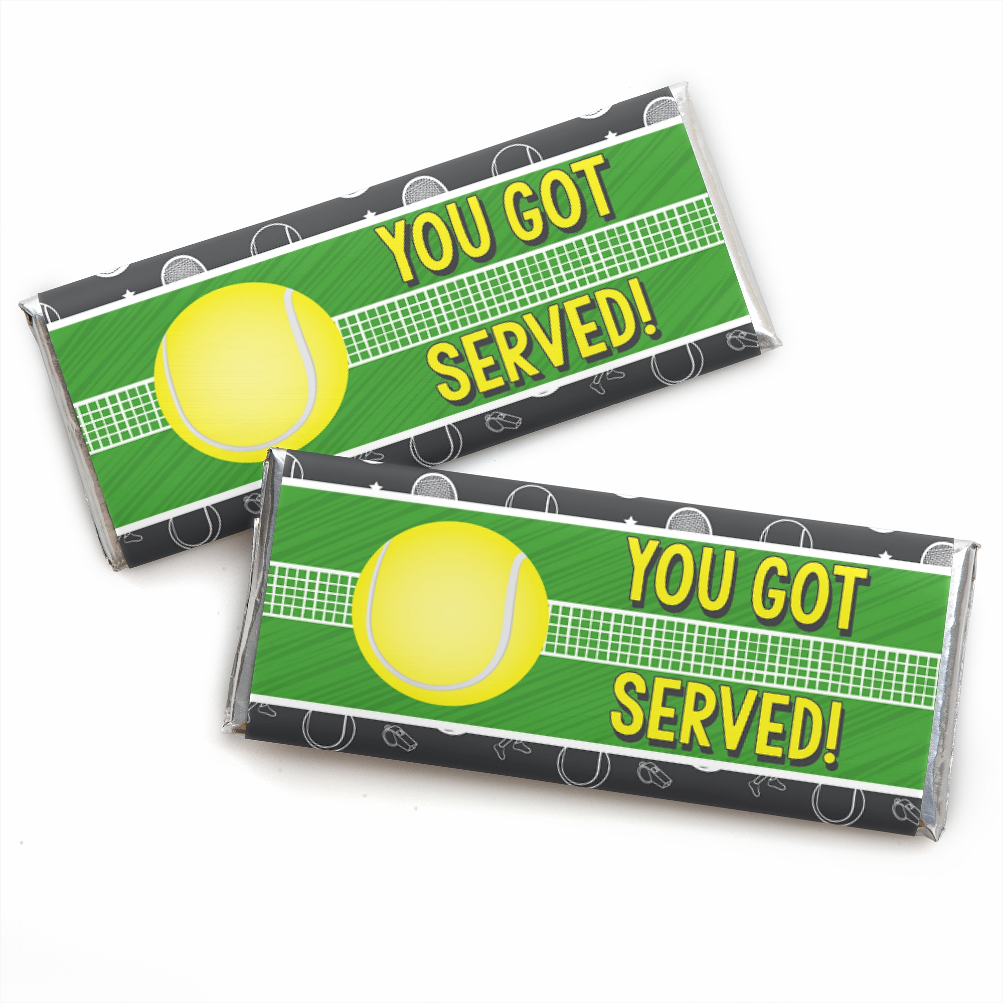 You Got Served - Tennis - Candy Bar Wrapper Baby Shower or Tennis Ball Birthday Party Favors - Set of 24