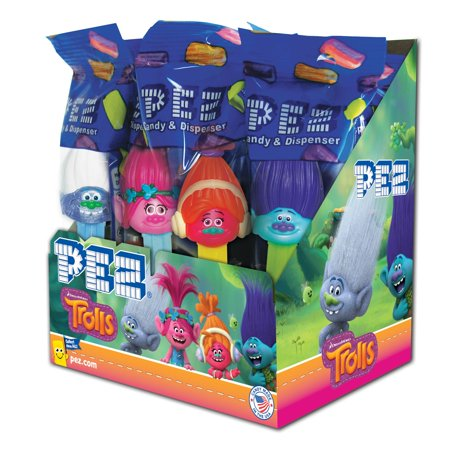 Batman Pez (PEZ Candy Trolls Assortment, candy dispenser plus 2 rolls of assorted fruit candy, box of)