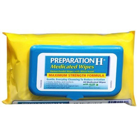 Preparation H Medicated Wipes 48 Each (Pack of 3)
