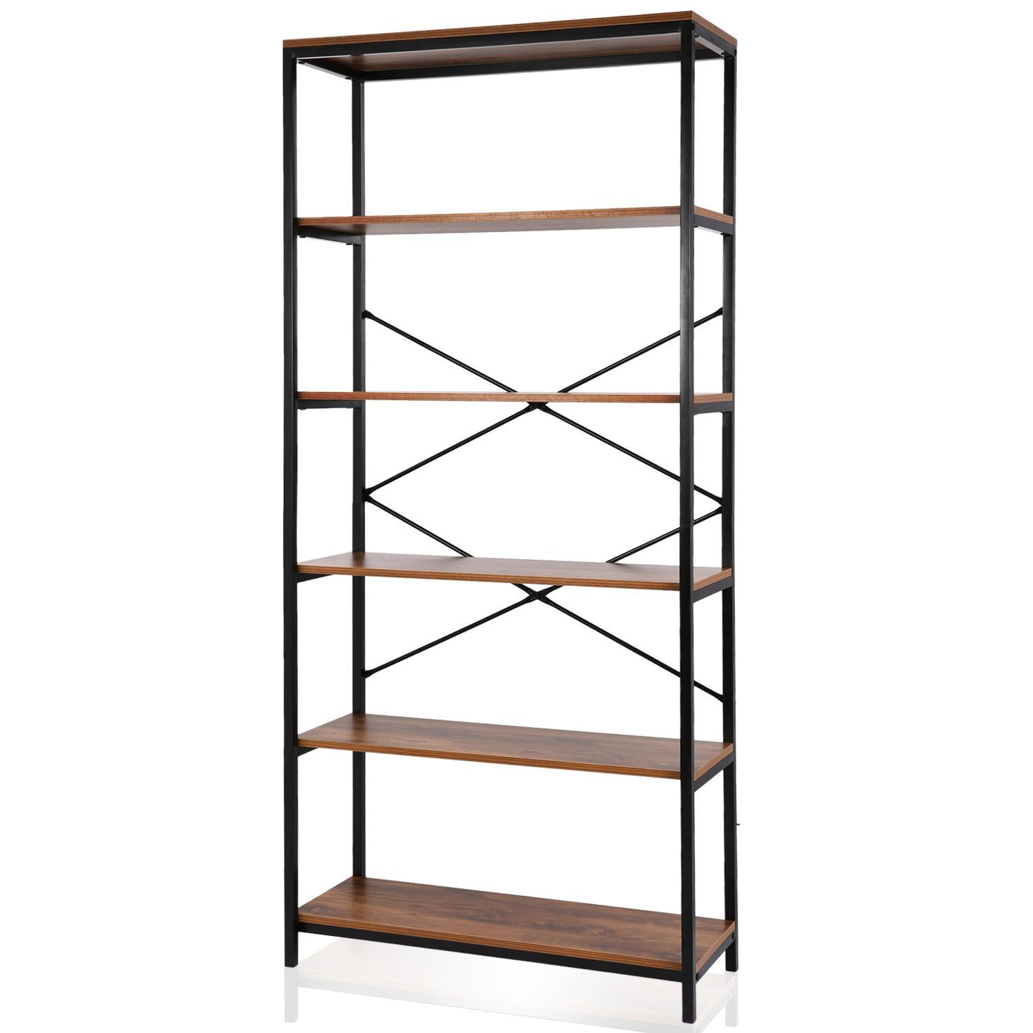 5-Shelf Vintage Industrial Bookcase, Wood and Metal Rustic Open Bookshelf,   32 '' x 12'' x 71''Kimimart