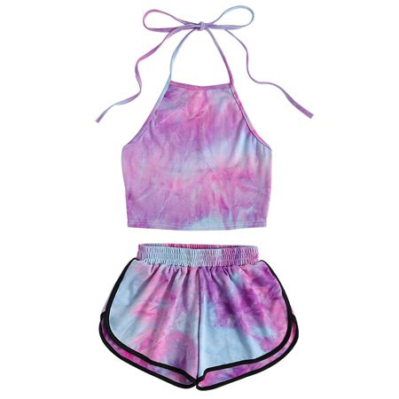 Fancyleo Halter Crop Top and Shorts Two 2 piece set Women Summer New Fashion Tank Suits Holiday Outfit Tracksuit - Rodeo Outfits For Women