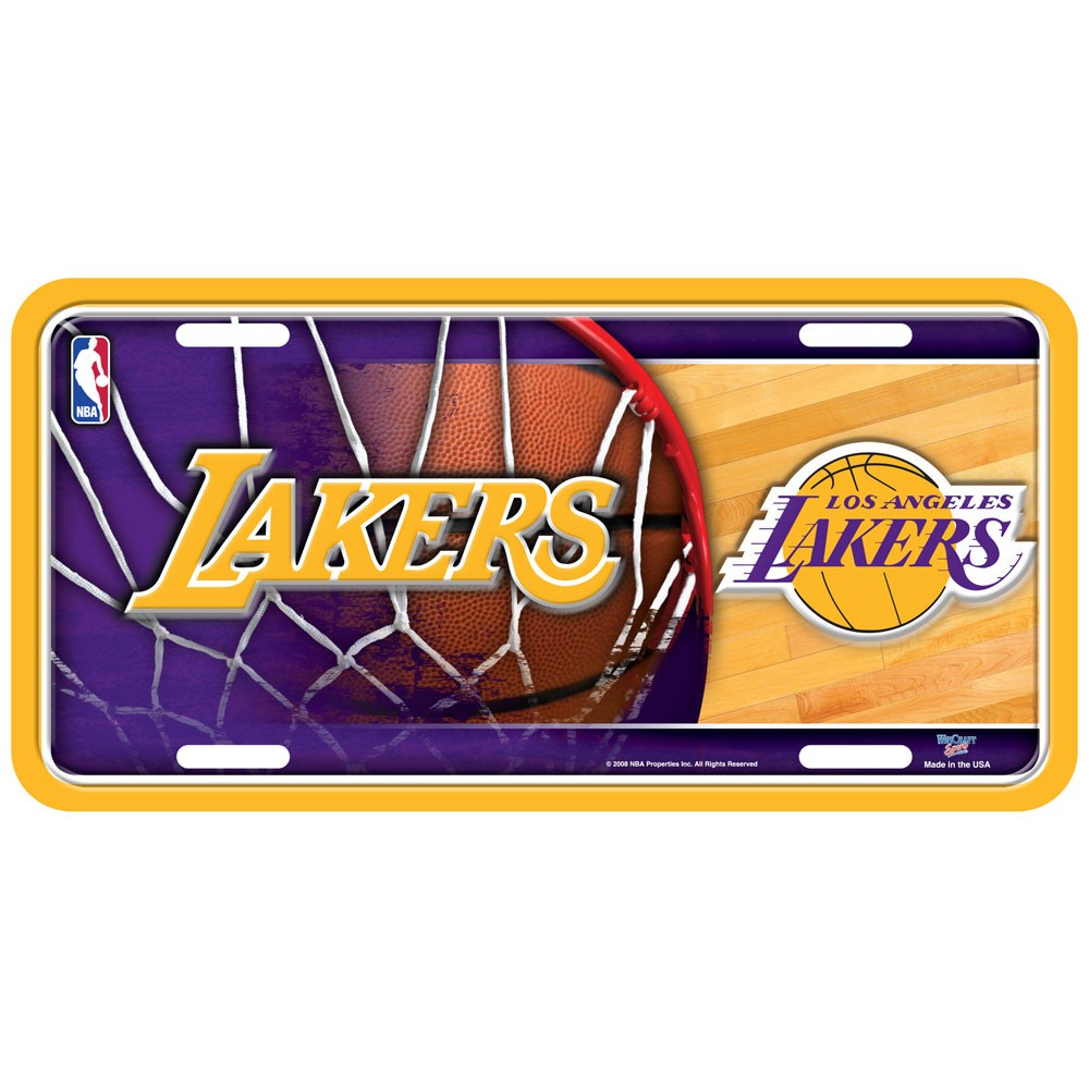 Los Angeles Lakers Official NBA 12 inch x 6 inch  Metal License Plate by WinCraft