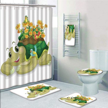 PRTAU Reptile Funny Floral Turtle Talking with Colorful Humming Birds Tortoise Ninja 5 Piece Bathroom Set Shower Curtain Bath Towel Bath Rug Contour Mat and Toilet Lid Cover (Ninja Turtle Toilet Cover)