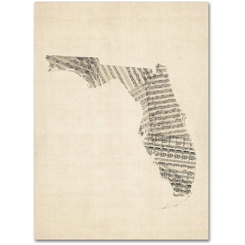 """Trademark Fine Art """"Old Sheet Music Map of Florida"""" Canvas Art by Michael Tompsett"""