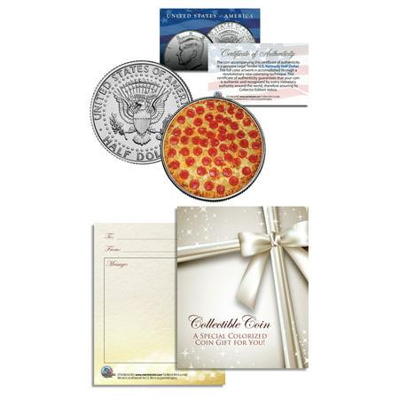 PIZZA Italian Italy JFK Kennedy Half Dollar U.S. Colorized Coin w/Gift Card (Old Italian Coins)