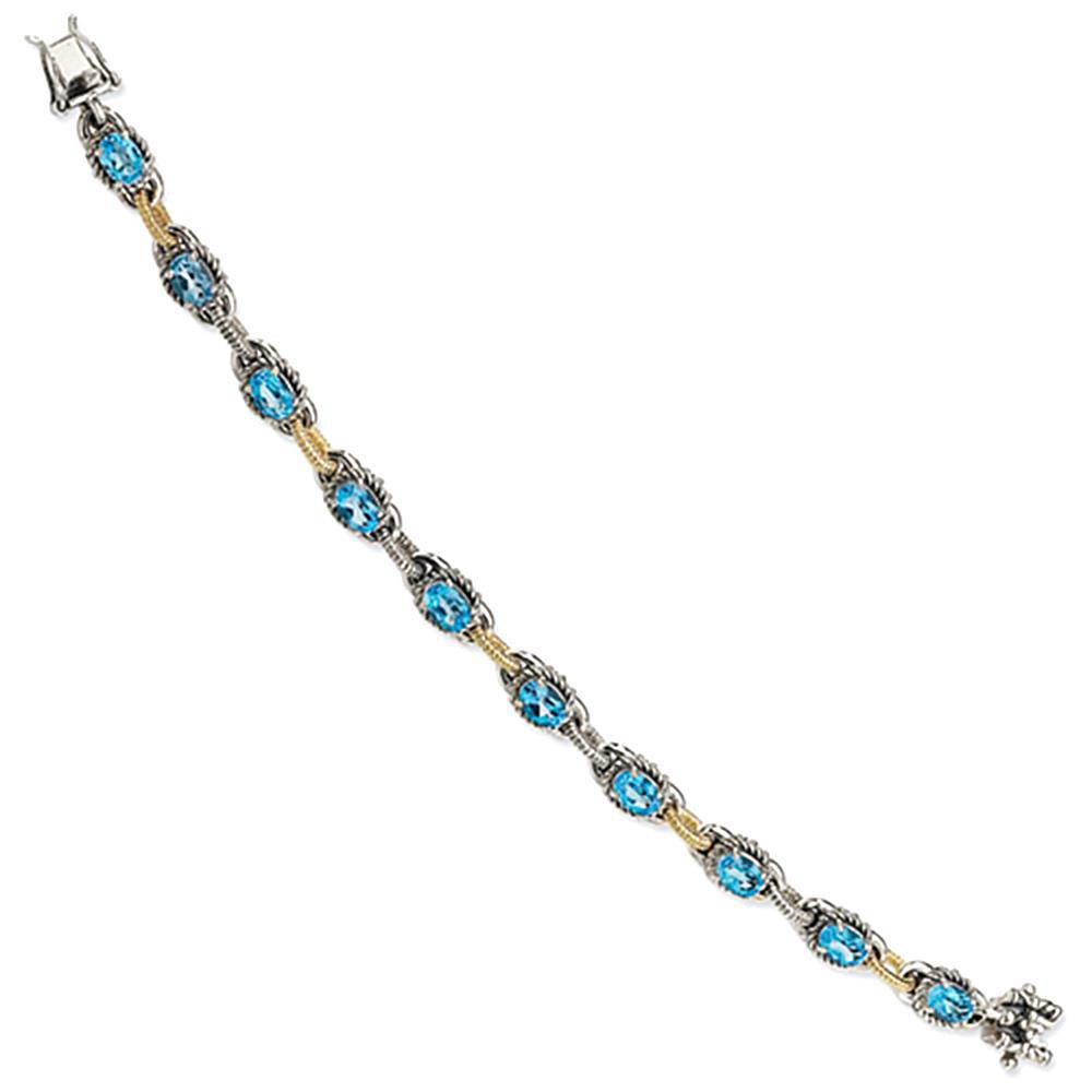 Sterling Silver w 14k Blue Topaz 7.75in Bracelet by