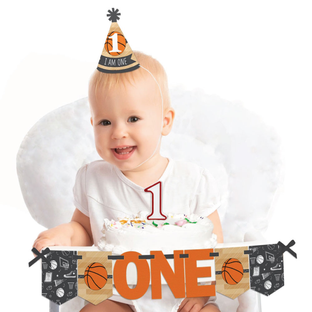 Nothin' But Net - Basketball 1st Birthday - First Birthday Boy or Girl Smash Cake Decorating Kit - High Chair Decor
