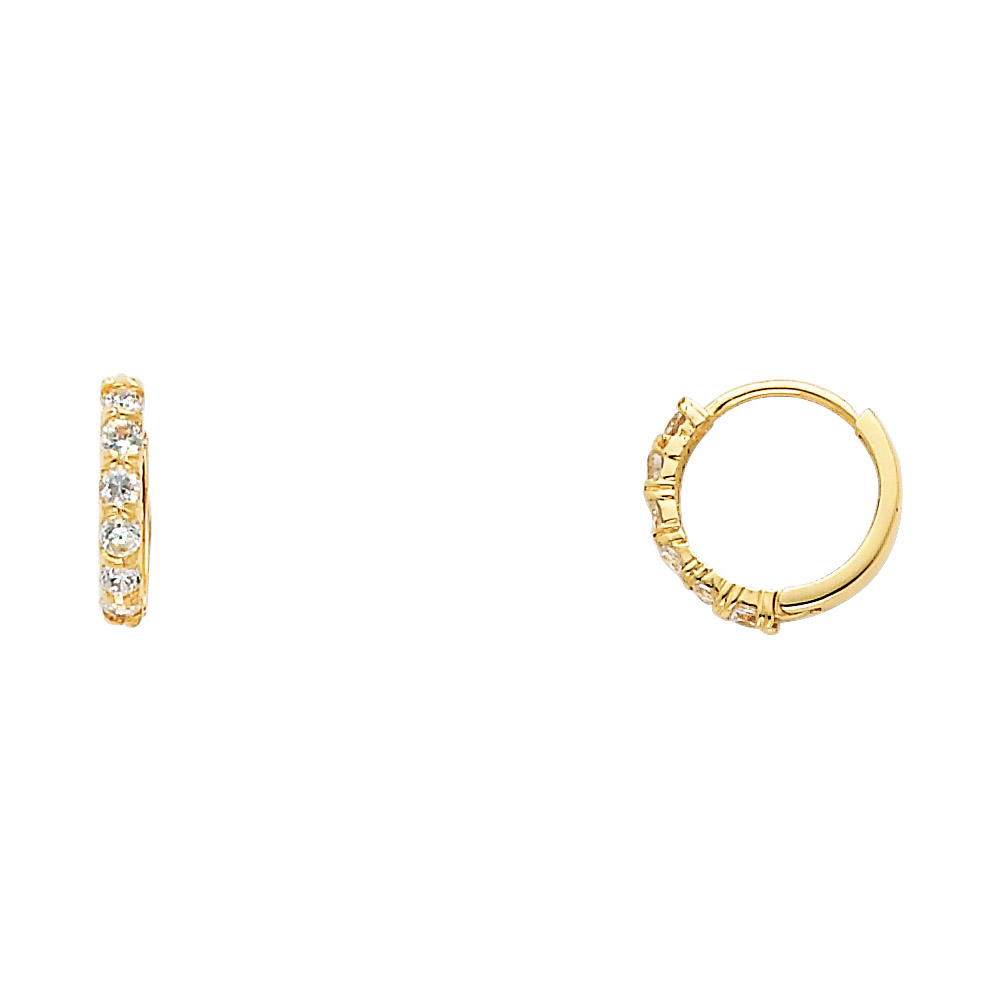 Cz Huggie Hoop Earrings Solid 14k Yellow Gold Huggies Round Cz Pave Set Polished Finish Small 12 Mm by Gem Apex
