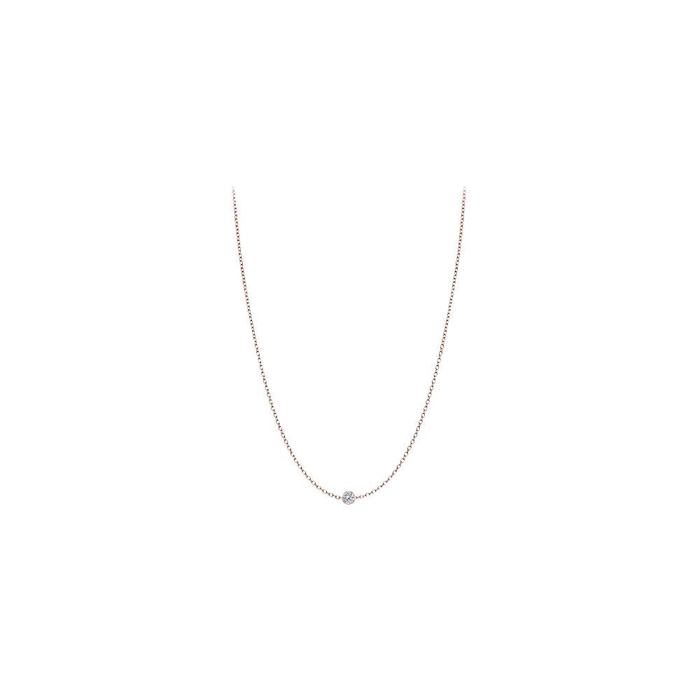Diamond Necklace in Rose Gold 14K 0.10 ct tdw - image 2 de 2