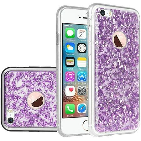 Insten Frozen Glitter Dual Layer Hybrid Hard Snap-in Case Cover For Apple iPhone 5/5S/SE - Dark Purple/Silver