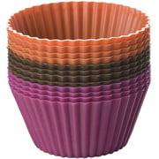 Silicone Baking Cups, Chocolate/Hot Pink/Orange 12/Pkg