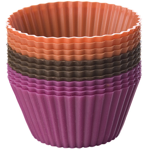 Silicone Baking Cups, Chocolate/Hot Pink/Orange 12/Pkg