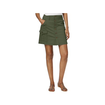 Jag Jeans Womens Twill Cargo A-Line Skirt Green 0