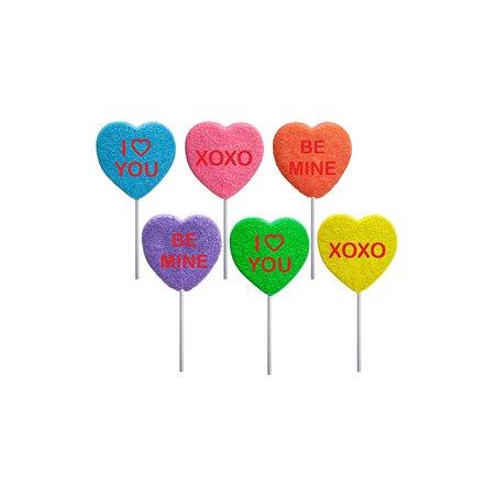 Sugar Sanded Love Note Heart Lollipops, 2 oz, 12 - Heart Lollipop