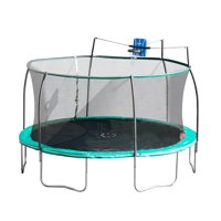 Bounce Pro 14-Foot Steelflex Trampoline with Safety Enclosure and Slama Jama Basketball (Teal)