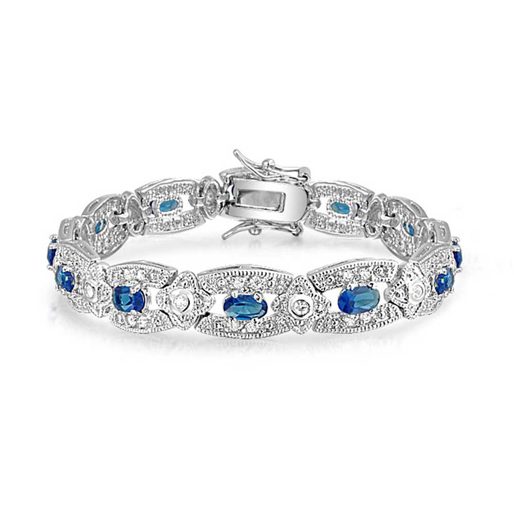Bling Jewelry Simulated Sapphire Cubic Zirconia Antique Style Bracelet Rhodium Plated by Bling Jewelry