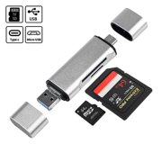 TSV 5 in 1 USB 3.0 Type C / USB / Micro USB SD TF Memory Card Reader OTG Adapter- Silver