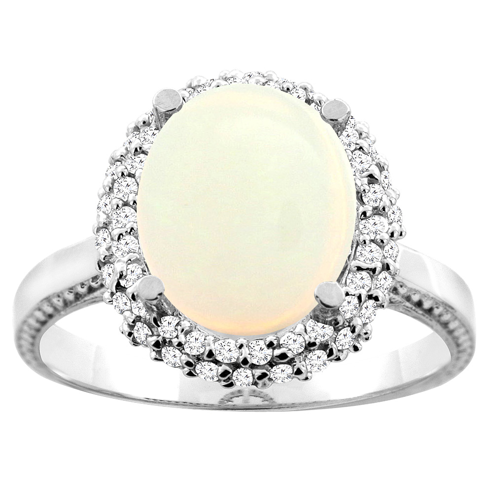10K White/Yellow Gold Natural Opal Double Halo Ring Oval 10x8mm Diamond Accent, sizes 5 - 10