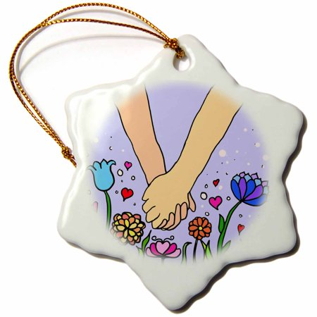 3dRose Handholding cartoon - romantic holding hands - anniversary valentines day lover partner couples gift, Snowflake Ornament, Porcelain, 3-inch