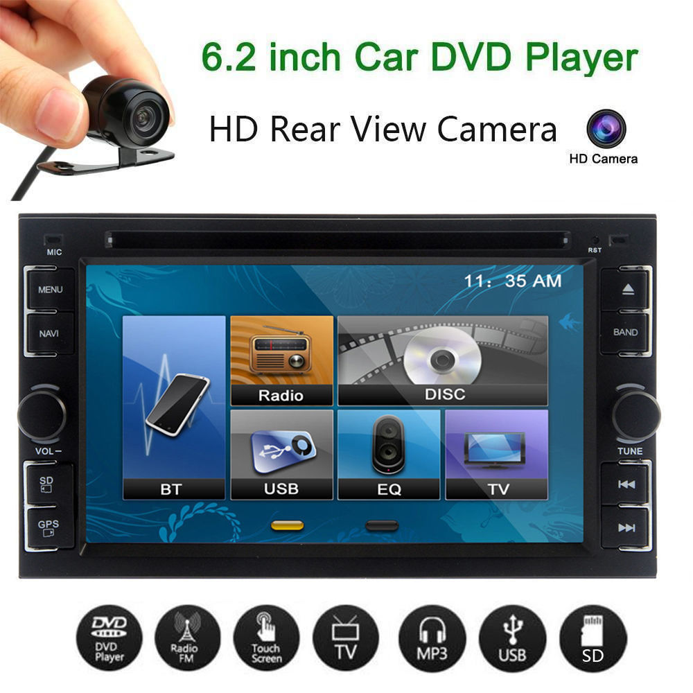 6205 Double 2Din 6.2 Inch Car Stereo DVD CD MP3 Player In Dash Bluetooth For Ipod Auto HD TV Radio Video Audio Camera... by LESHP