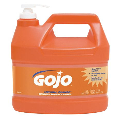 Gojo Natural Orange Smooth Hand Cleaners, Citrus, Bottle w/Pump, 1 gal (Gojo Orange Hand Cleaner)