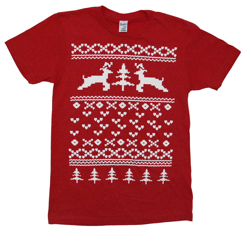 Reindeer Christmas Sweater Funny Xmas Holiday Adult T-Shirt Tee
