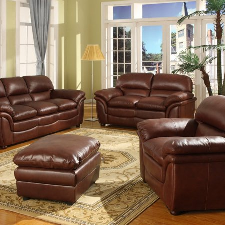 - Baxton Studio Redding Cognac Leather Modern Sofa Set - Brown