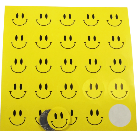 Yellow Smiley Face Dot Circle Stickers 1 Inch Round Labels 10 Sheets of 25 Stickers 250 Total