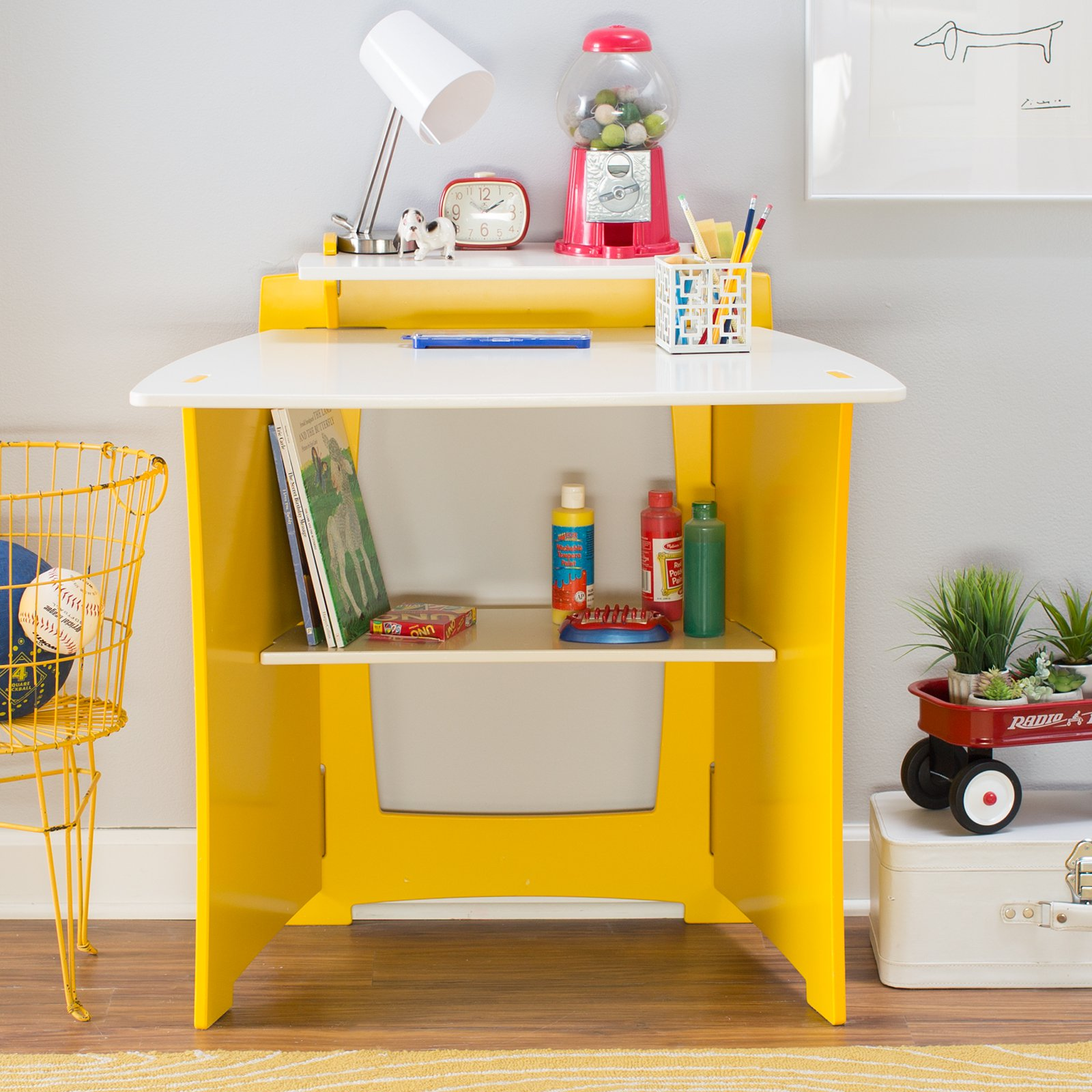 Legare 34 in. Kids Desk with Shelf - Yellow and White