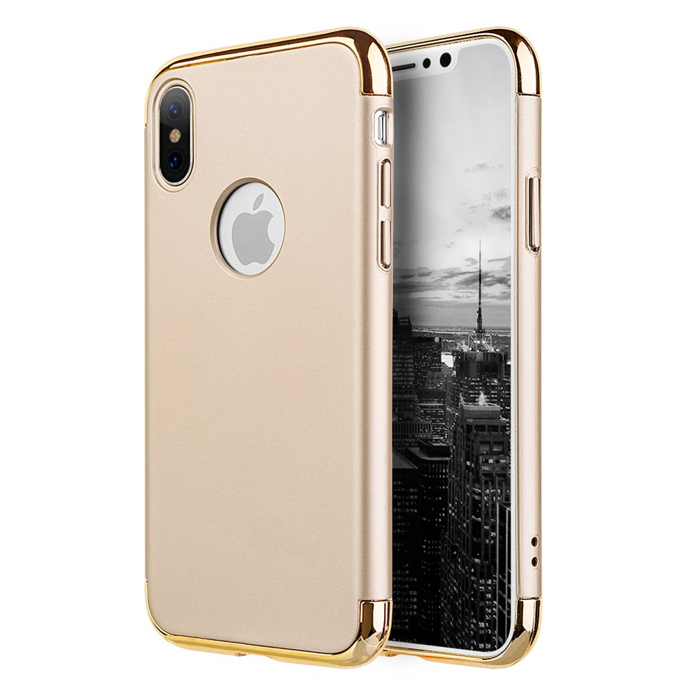 iPhone X Case, Premium 3 in 1 Advance Slim Protection Hard Case Rubberized Protective Cover with Chrome Frame for Apple iPhone X - Gold